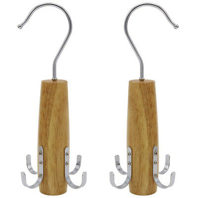 Belt Racks, 2 Pack Swivel Rack Closet Space Saver with 4 Hooks for Hanging S 7J1
