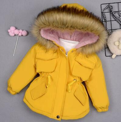 Toddler Kids Girls Winter Warm Fur Hooded Puffer Jacket Parka Quilted Coat New