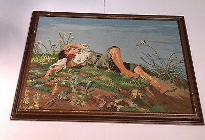 Vintage Hand Crafted Needle Point Canvas Tapestry Man Sleeping