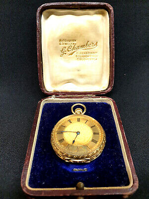 Omega Solid Gold 18ct Ladies Hallmarked Pocket watch 1901 Original JewellersBox