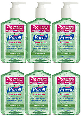 PURELL Hand Sanitizer Soothing Gel with Aloe and Vitamin E 8 OZ (pack of 6)