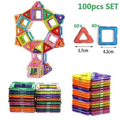 50/100PCS Magnetic Building Construction Blocks Educational Kids Magic Toys Gift