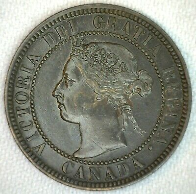 1901 Canada Large Cent Coin 1c Canadian Bronze Penny One Cent AU Almost Unc