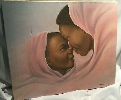 AFRICAN AMERICAN ART PRINT Father and Child Keith Mallett 8x10