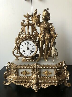 Antique Marble Clock - French Spelter Figural Clock - Mantel + key
