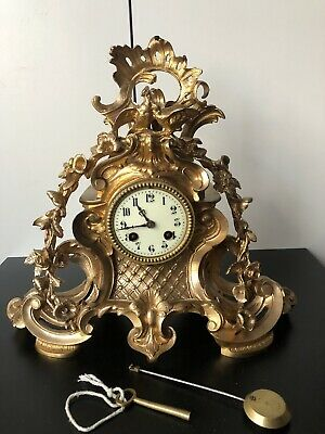 Antique Brass Clock - French Brass Carved Clock - Mantel + key