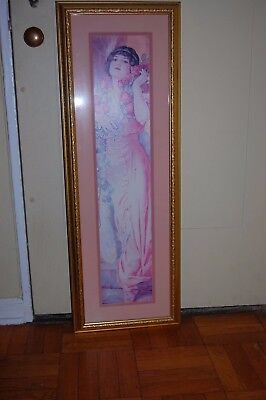 Beautiful Vintage Art Deco Women Portrait Print Framed Artwork Large