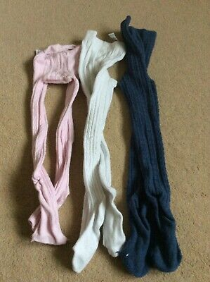 George girls 3 pairs of tights pink, white and blue age 3-4