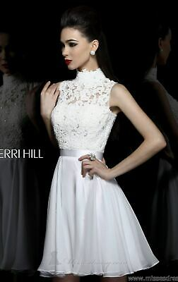21184 Sherri Hill White Lace Party Evening Formal Prom Gown Dress Size USA 8