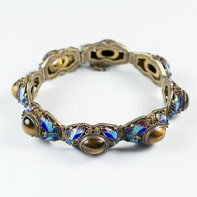 Antique Chinese Export Silver Filigree Bracelet Enamel Butterflies & Tiger's Eye
