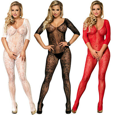 4 color Sexy Women Crotchless Fishnet Mesh Body Stocking Bodysuit Teddy Lingerie