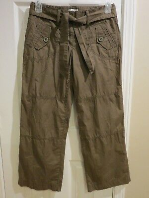 Ann Taylor Loft Size 2 Belted Army Green Wide Leg Casual Pants