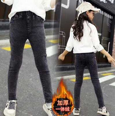 Kids Girls Winter Warm Fleece Lined Slim Stretch jeans Denim Pants Trousers New