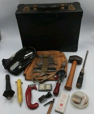 Vintage Mid Century BELL SYSTEM Phone Company Hard Tool Case and Antique Tools