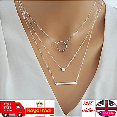 UK New Women Silver Choker Multi Layered Bar With Disc and Ring Boho Necklace