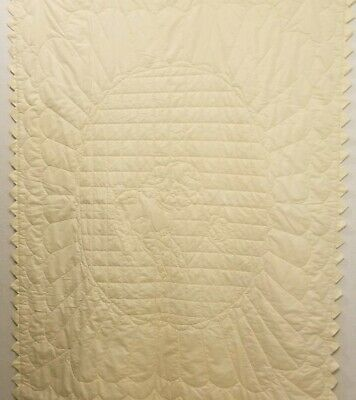 """Vintage Yellow Baby Blanket Lamb/Sheep & Butterfly Print Lovey Blanket 56""""x 42"""""""