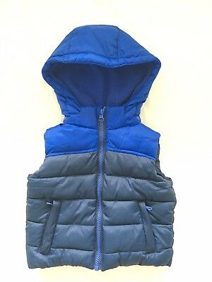 Lily & Dan Boy's Blue Puffer Vest With Removable Hood Size 2