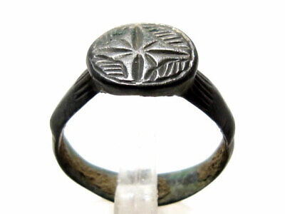 NICE CRUSADER BRONZE RING with CROSS ON THE TOP+++TOP PATINA++++TOP QUALITY+++