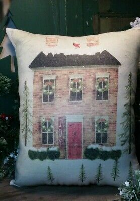 Colonial Primitive Vintage Folk Art Cabin Farm Christmas House Winter Pillow