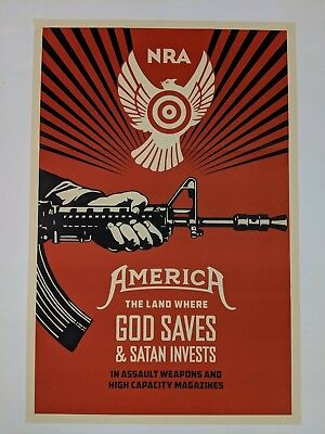 Shepard Fairey God Saves /& Satan Invests Paster Print Poster Street Art Obey