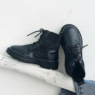 Kids Boys Girls Winter Warm Lined Army military Ankle Boots Biker Combat Shoes
