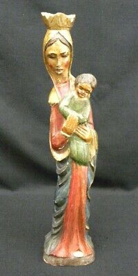 """Vintage Hand Carved, Painted 17 1/2"""" Wood Statue Mary with Baby Jesus Italy"""