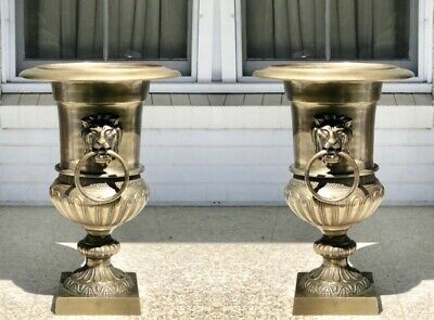 Brand New Pair Of Large Antique Brass Finish Decorative Metal Urns