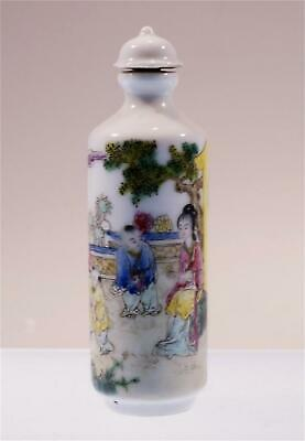 Chinese Colourful Hand Painted Porcelain Snuff Bottle Women And Children