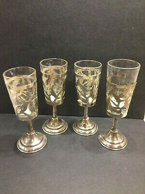 Set 4 Vintage JMN Sterling Silver Cordial Cup Holders With Glass Cups