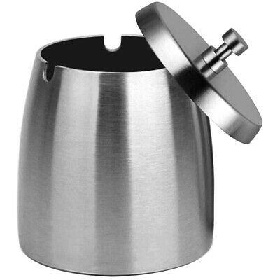 Outdoor Ashtray with Lid for Cigarettes,Stainless Steel Windproof/Rainproof F5W7