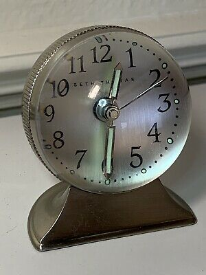 Rare Art Deco Seth Thomas Small Stainless Acrylic Dome Alarm Clock Works Great!