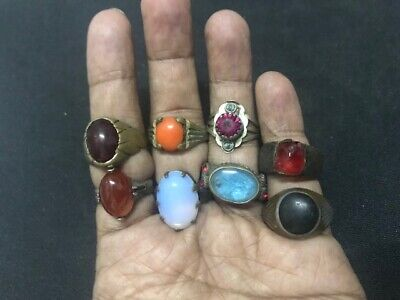Wholesale 8Pc Old Ring Afghan Kuchi Nomad Tribal Alpaca Silver Assorted Gem J1