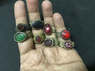 Wholesale 8Pc Old Ring Afghan Kuchi Nomad Tribal Alpaca Silver Assorted Gem J4