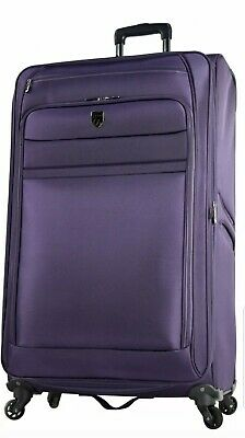 Expandable Spinner Upright Vacation Travel Luggage Roller 32 In Purple Suitcase