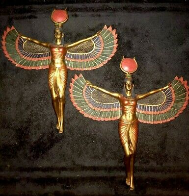 Design Toscano Egyptian Winged Isis Wall Plaque Statue Set (2x) Sun Disk 12x12""