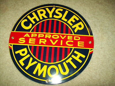 chrysler plymouth approved service porcelain enamel advertisment two sided