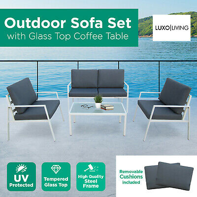 Luxo 4 Seater Outdoor Sofa Set Patio Garden Lounge Furniture Seat Chair Setting