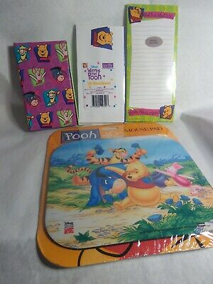 Lot Winnie The Pooh Mouse Pad mousepad address book envelopes & notepad NOS 4pc