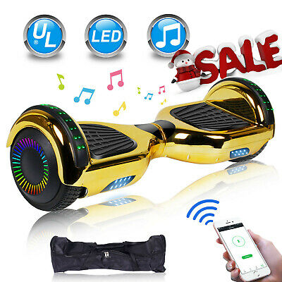 Dual Wheel Bluetooth Hoverboard Electric Balance LED Light Bag Scooter Xmas Gold