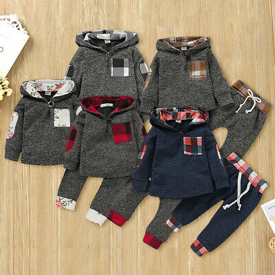 Toddler Infant Baby Boys Hooded Outfits Plaid Long Sleeve Tops Pants Clothes Lot