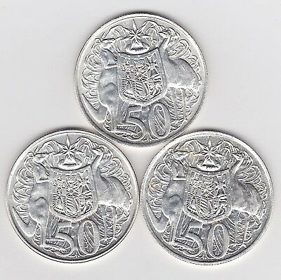 1966 Australia Silver Fifty 50 Cent Coins X 3 (80% Silver) - Three Great Coins