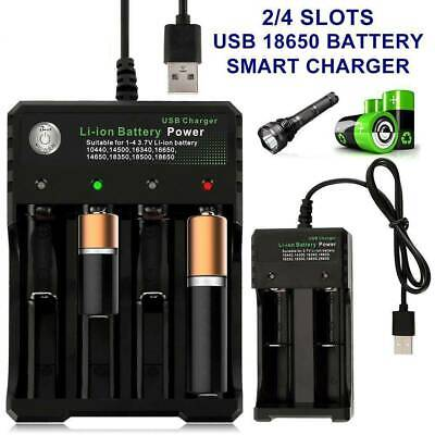 1 2 Slots Smart USB 18650 Battery Charger for 3.7V Rechargeable Battery AA AAA