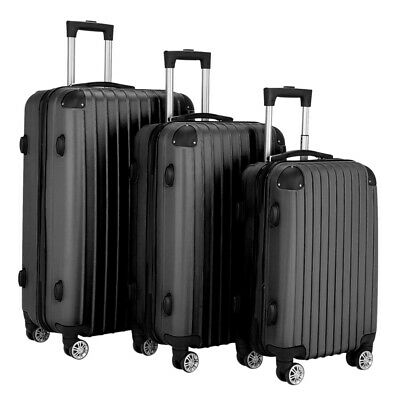 Hardside 3 Piece Nested Spinner Suitcase Lightweight Luggage Set w/ TSA Lock