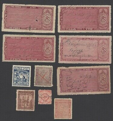 India Hyderabad State collection of Court Fee & revenue stamps (10 different)