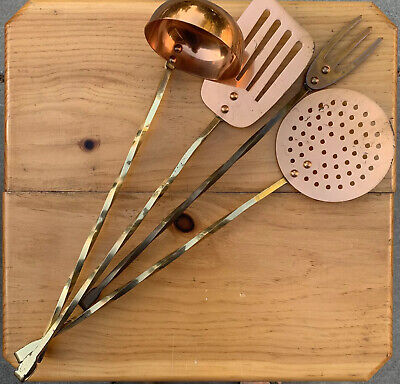 Vintage Copper And Brass Hanging Kitchen Utensils