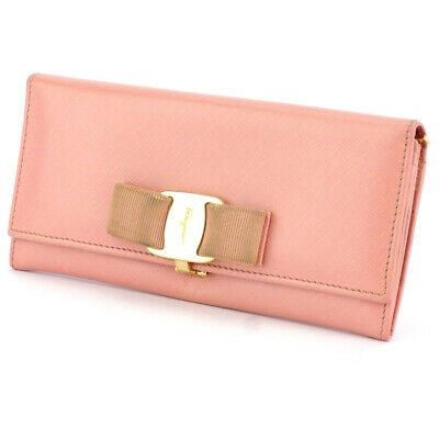 Salvatore Ferragamo purse Valaribbon Pink Leather Auth used D2250