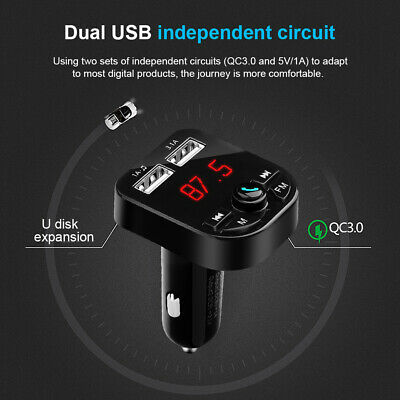 Neuf Voiture Mains Libres MP3 Radio FM Transmetteur Bluetooth USB Chargeurs