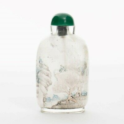 Antique Chinese Reverse Inside Painted Snuff Bottle w/Wand Pastoral Scene 2.75""