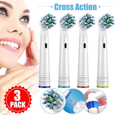 3 Pack Cross Action 4 Heads Electric Replacement ToothBrush Xmas Gift For Oral B