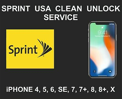 Sprint USA Clean Unlock Service, fits iPhone 5, 6, 6+, 6S, SE, 7, 7+, 8, 8+, X